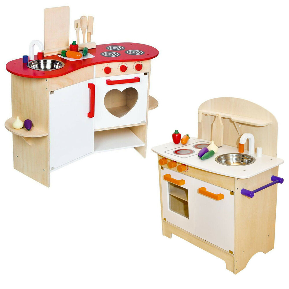 kinderk che aus holz spielk che k che kinder spielzeug holzk che inkl zubeh r ebay. Black Bedroom Furniture Sets. Home Design Ideas
