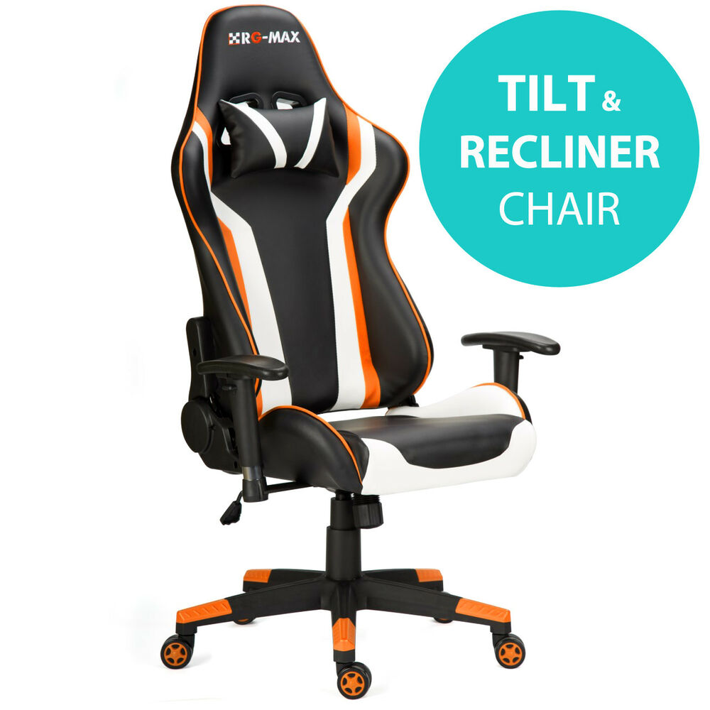 Details About Rg Max Pro Reclining Sports Racing Gaming Office Desk Pc Fx Leather Chair Orange