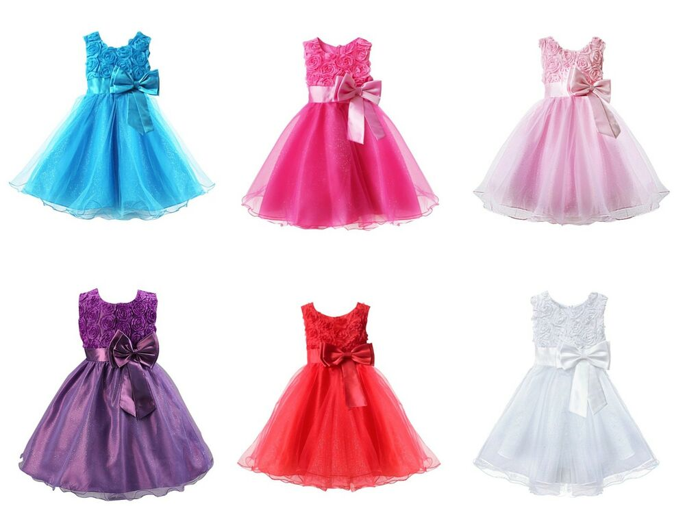 Girls bridesmaid dress baby flower kids party rose bow for Ebay wedding bridesmaid dresses