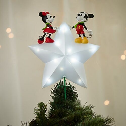 DISNEY 2016 MICKEY AND MINNIE MOUSE LIGHT UP TREE TOPPER