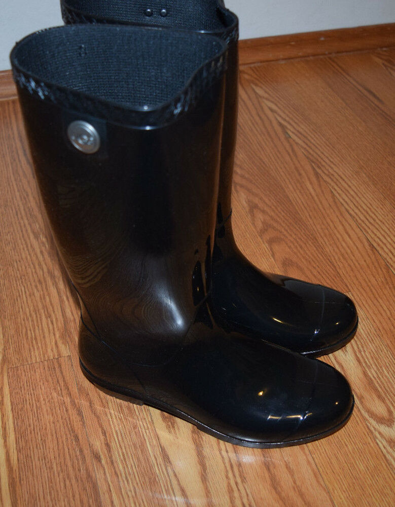 6c6fcf2eb4c NEW Womens UGG Tall Black Gloss Shaye Water Proof Boots Rain Boots Size US  10 | eBay