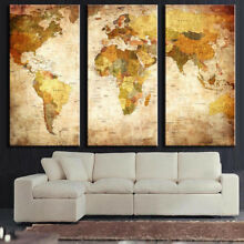 3Pcs Unframed World Map Modern Wall Oil Painting Canvas Print Home Bedroom Decor