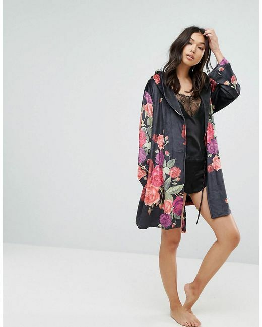 """BNWT B by Ted Baker Black Floral Print """"Juxtapose Rose""""Dressing Gown ..."""