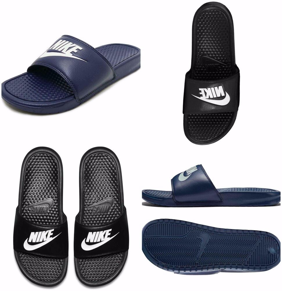 online store 4a7b2 3e894 Nike Mens Benassi Jdi Flip Flops Slides Pool Beach Sandals Sliders Black  Navy   eBay