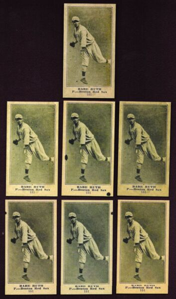 Set of 7 1916 Babe Ruth ROOKIE Reprint cards with variation backs Boston Red Sox