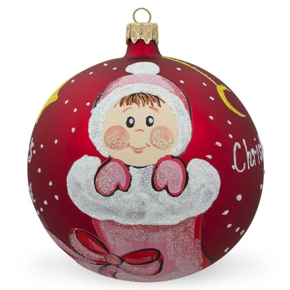 Girl in Christmas Stocking Glass Ball Baby's First ...