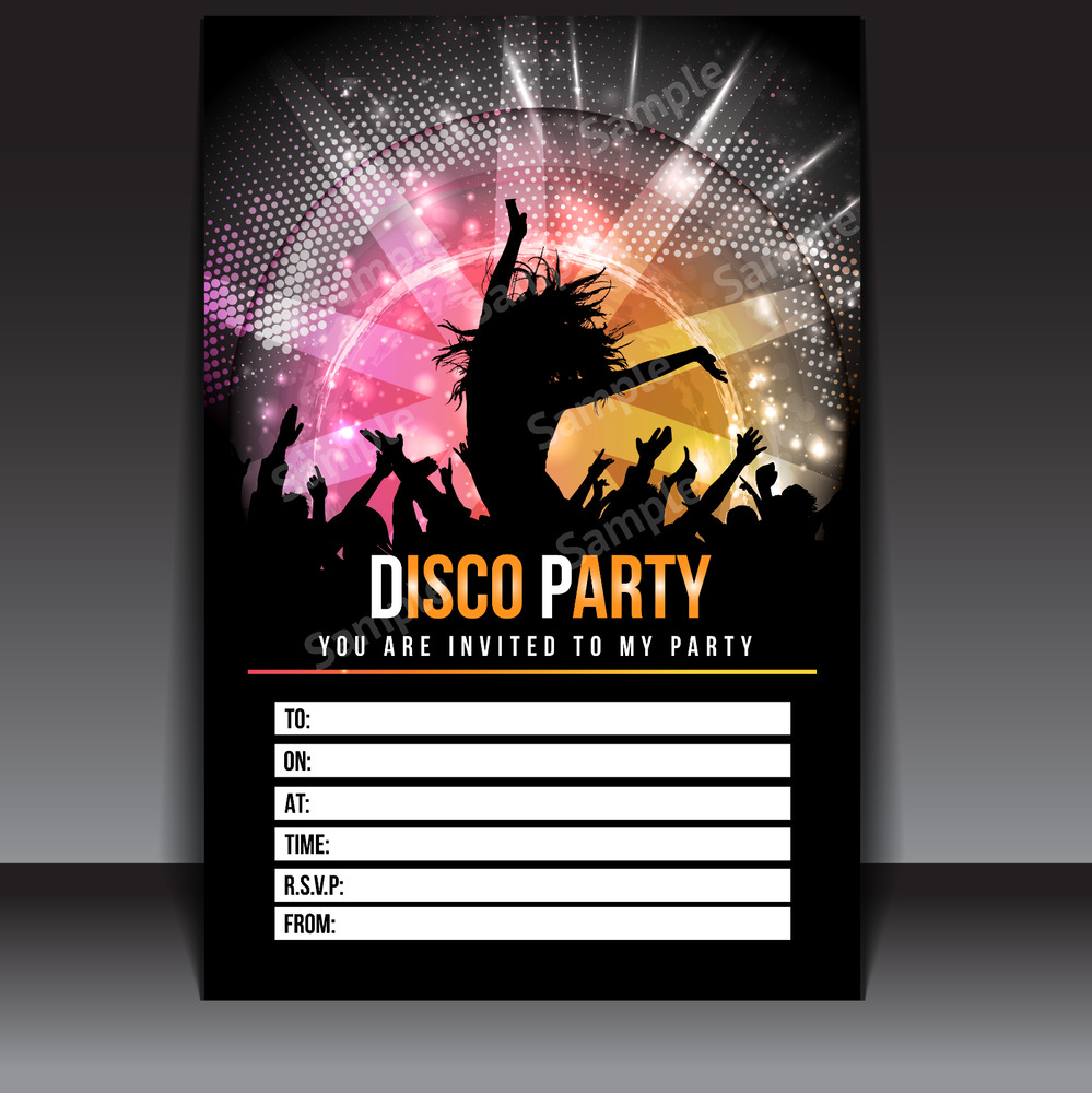 20 x disco party invitations invites kids child adult girls boys thick postcards