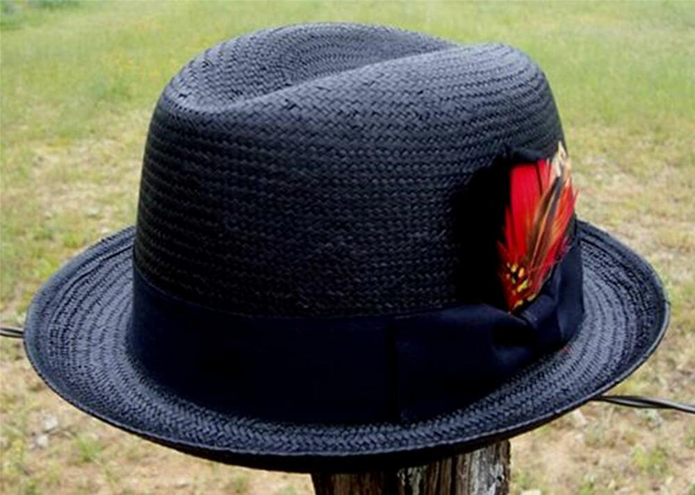 NEW Black Men s GODFATHER Straw HOMBURG Fedora Gangster Kid Rock n Roll Hat   65f690df822