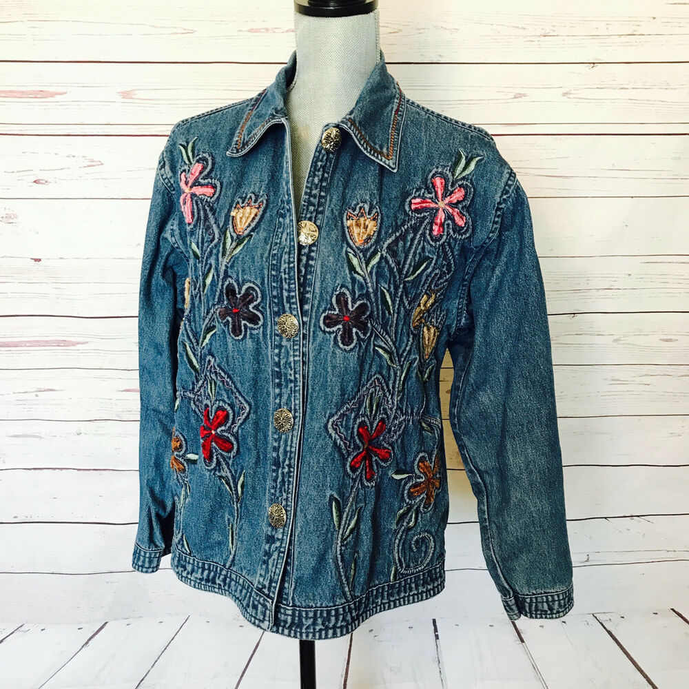 Coats, Jackets & Vests New Direction Embroidered Denim Jacket Size Xl Reasonable Price
