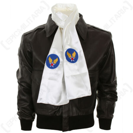 img-WW2 US Army Air Forces Pilots Scarf- Reproduction Silk Blend Embroidered Airman
