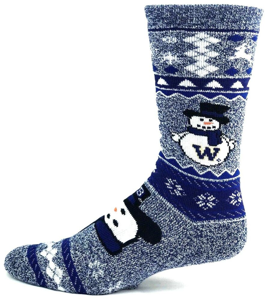 buy online 303b5 142aa Washington Huskies NCAA Ugly Christmas Sweater Snowman Crew Socks   eBay