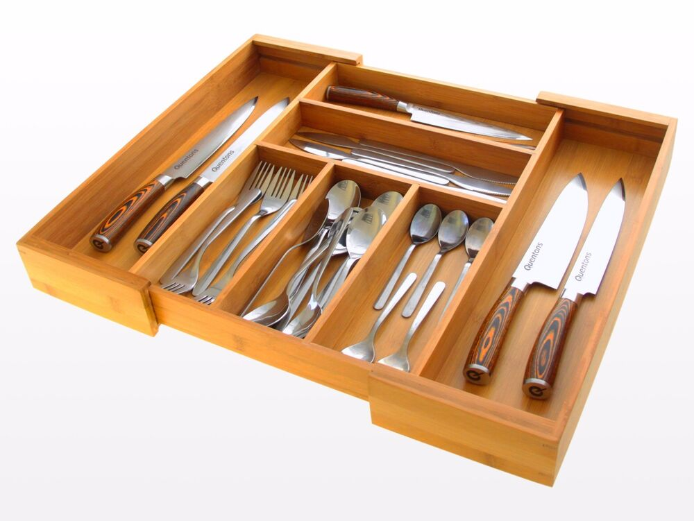 expandable kitchen cutlery tray drawer inserts organiser made of bamboo ebay. Black Bedroom Furniture Sets. Home Design Ideas
