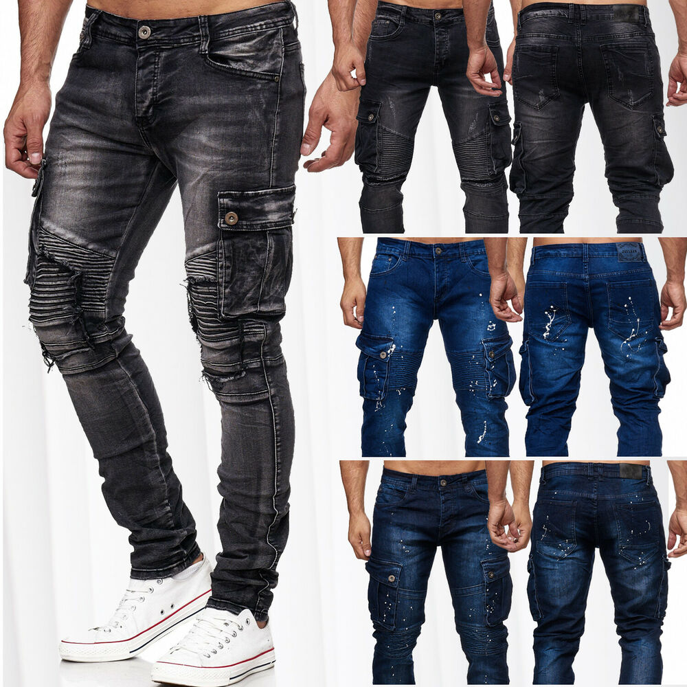 herren cargo jeans taschen biker hose denim slim fit. Black Bedroom Furniture Sets. Home Design Ideas
