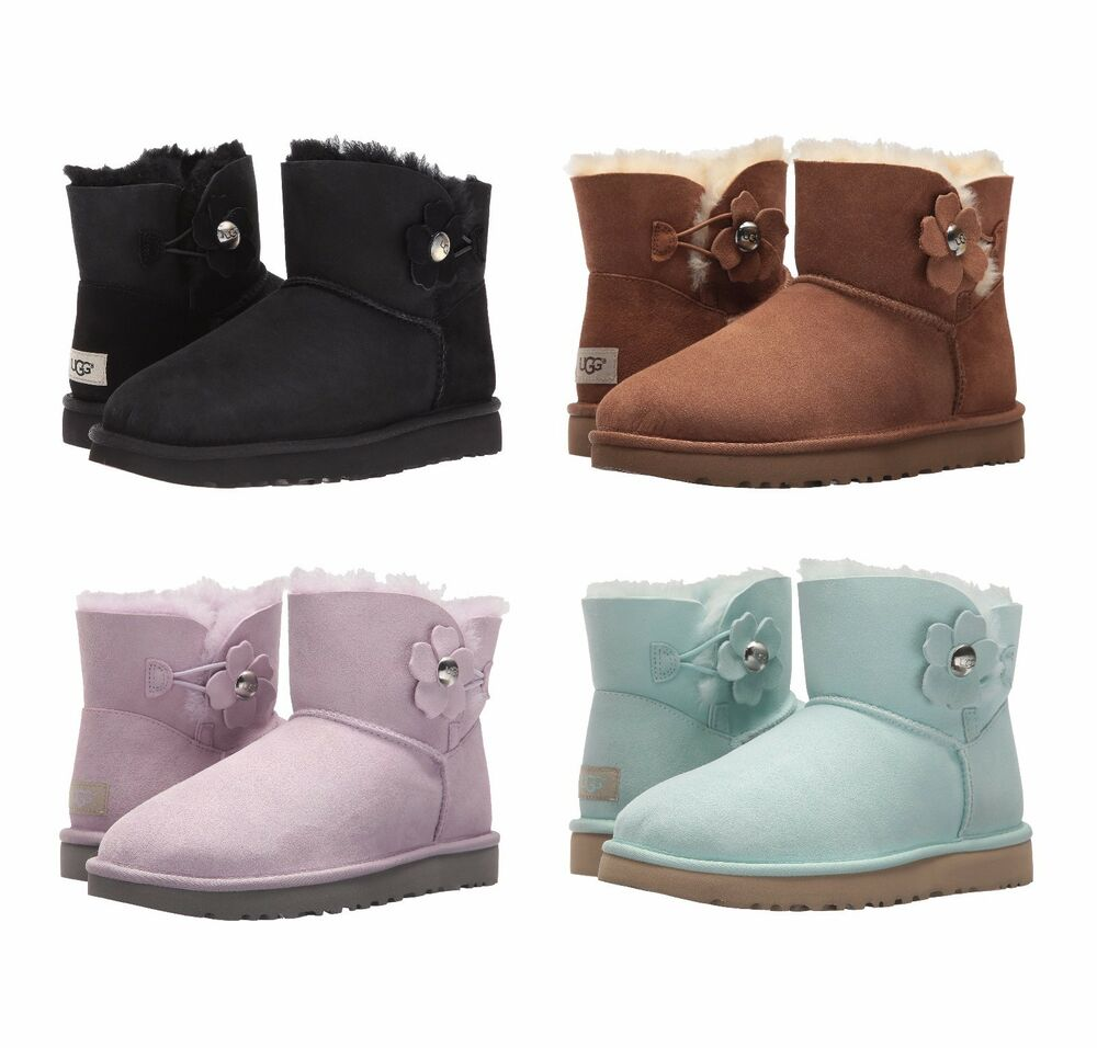 718f1d158b74 Details about NEW UGG Women s Mini Bailey Button Poppy Winter Boots Shoes  Black Chestnut Pink