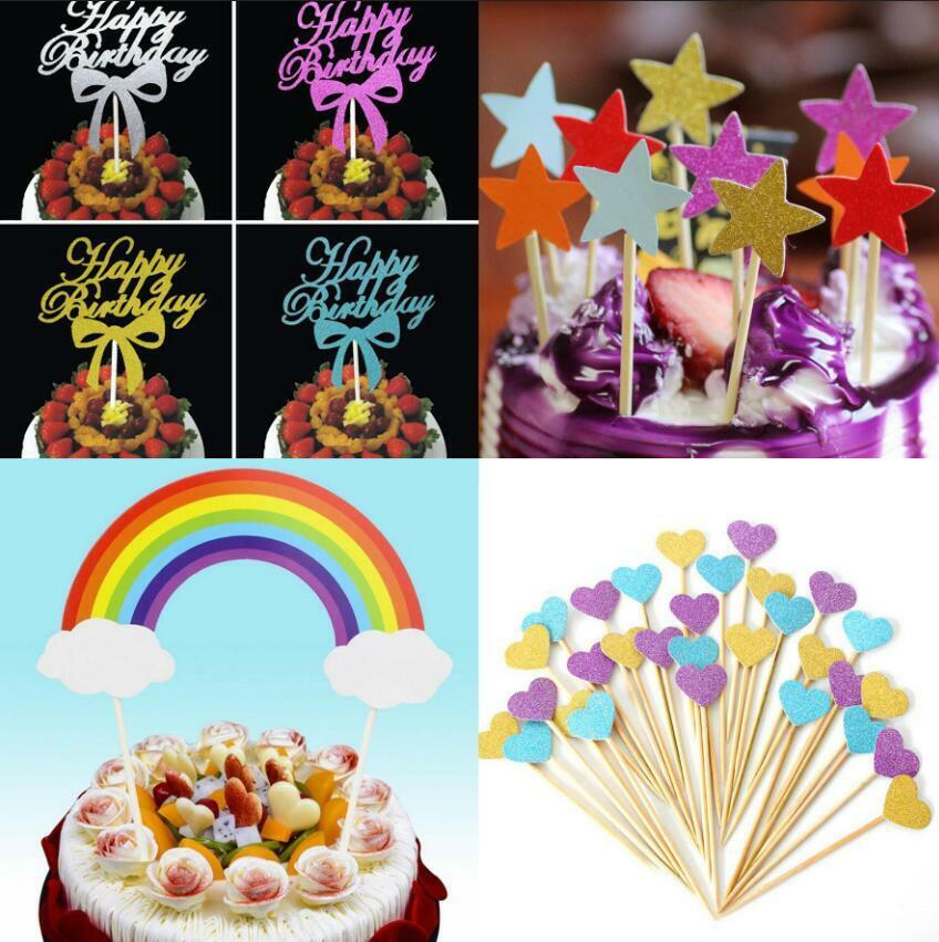 Happy Birthday Cake Glitter Picks Birthday Party Cupcake Toppers