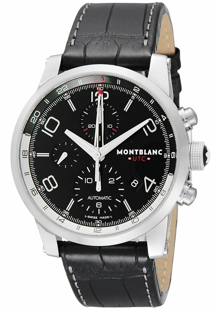 1415882187a Details about MONTBLANC TIME WALKER UTC Automatic Black Dial Men s Watch  Leather Band 107336