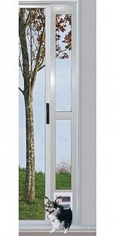 Details about Adjustable Patio Pet Door For Dog Cat Up To 35 lb Sliding Glass White Medium New  sc 1 st  eBay & Adjustable Patio Pet Door For Dog Cat Up To 35 lb Sliding Glass ...