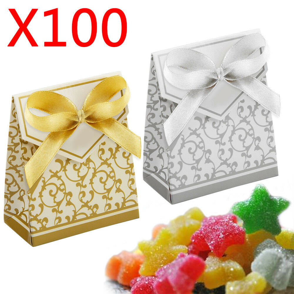 100 Wedding Favor Sweet Cake Gift Candy Boxes Gold&Silver Bags ...