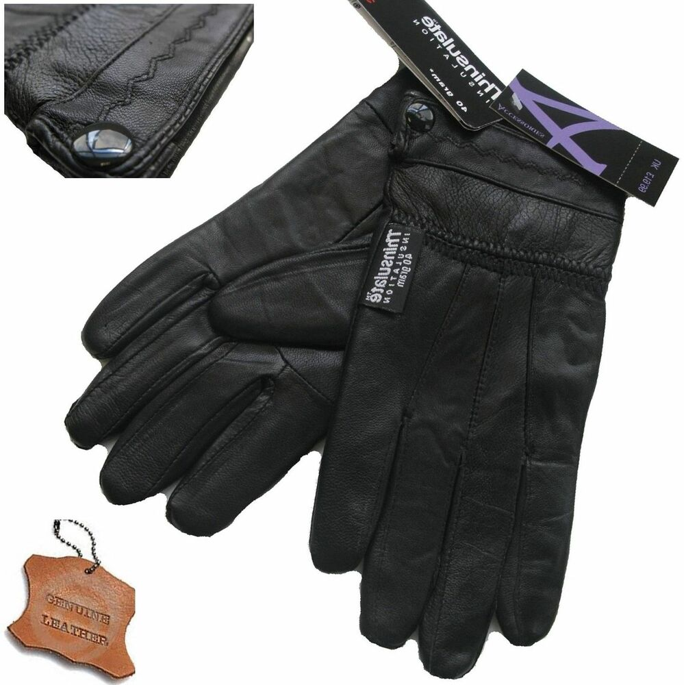 7bb9a905f0b71 Details about LADIES LEATHER GLOVES THERMAL FLEECE LINED BLACK DRIVING SOFT WINTER  GLOVE WARM.