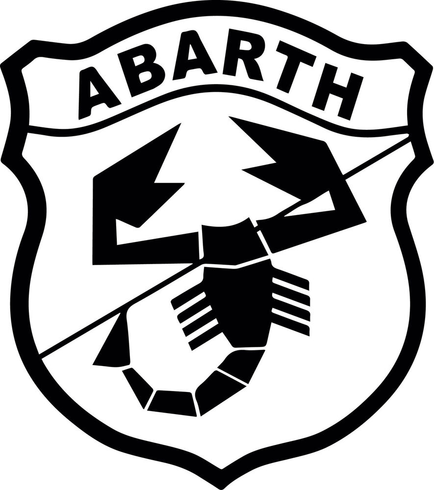 abarth logo fiat 500 vinyl cut sticker decals 225 x200mm fiat 500 abarth ebay. Black Bedroom Furniture Sets. Home Design Ideas