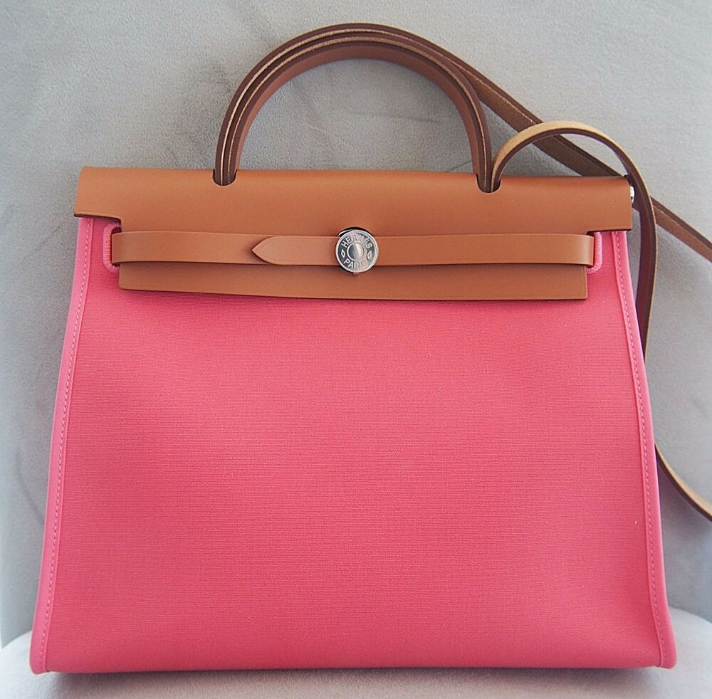 276bcafeaf8b Authentic HERMES Herbag Zip Canvas Rose Azalee Pink 31cm PM Kelly Lock bag