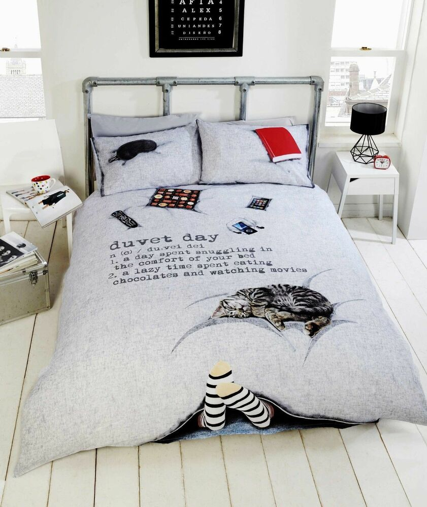 Duvet Day Grey Novelty Quilt Cover 3d Cat Funny Boys