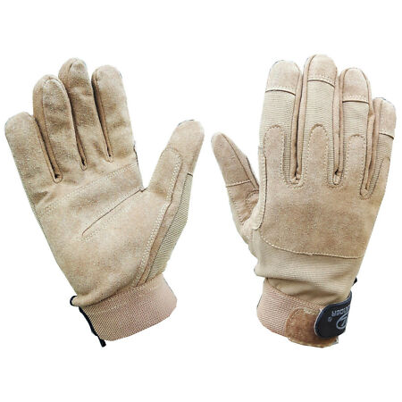 img-GENTS TAN SUEDE TACTICAL GLOVES Mens army Military ops sniper hand protection