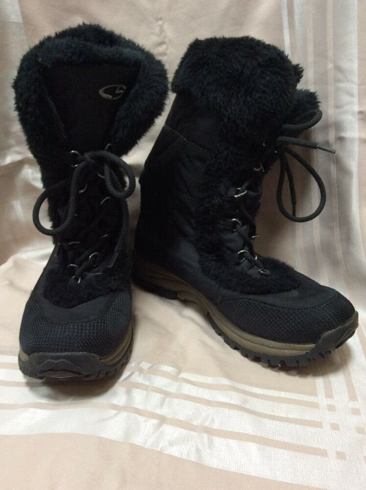 e0f7f43caa4 Champion Boots Womens 9 Neveah Target Black Shoes Fur Lace Up Mid Calf  Winter