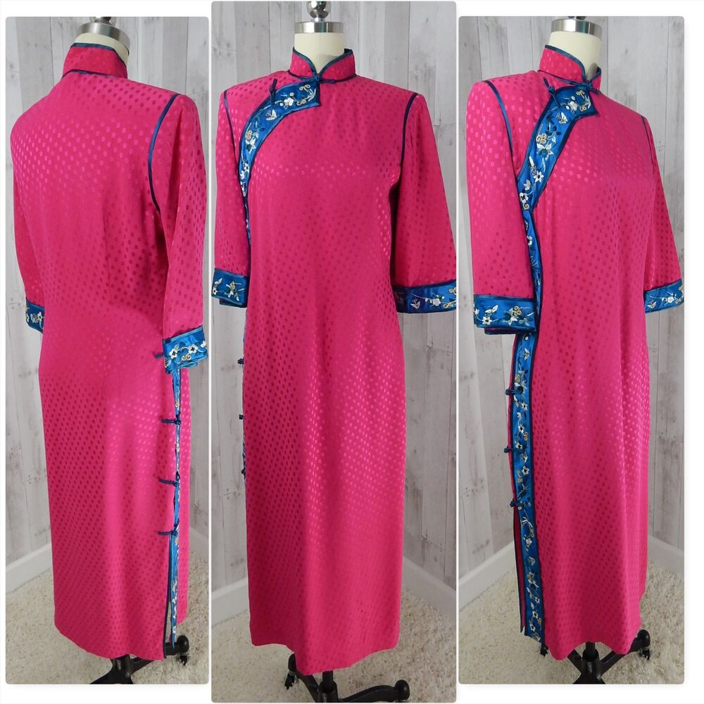 e5784b1fa Details about Vintage Jenny Lewis Embroidered Silk Dress Traditional Asian  Cheongsam Hot Pink