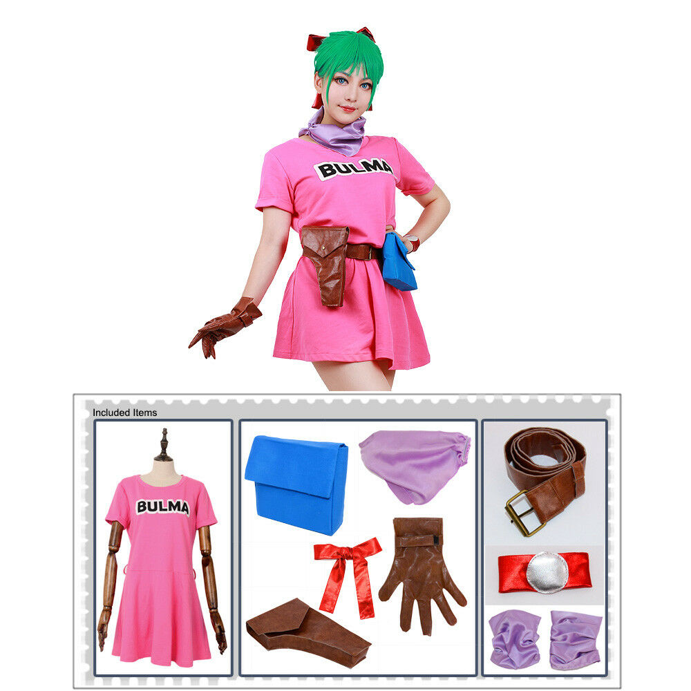 Details about Dragon Ball Bulma Cosplay Costume Pink Dress e400aab0e264