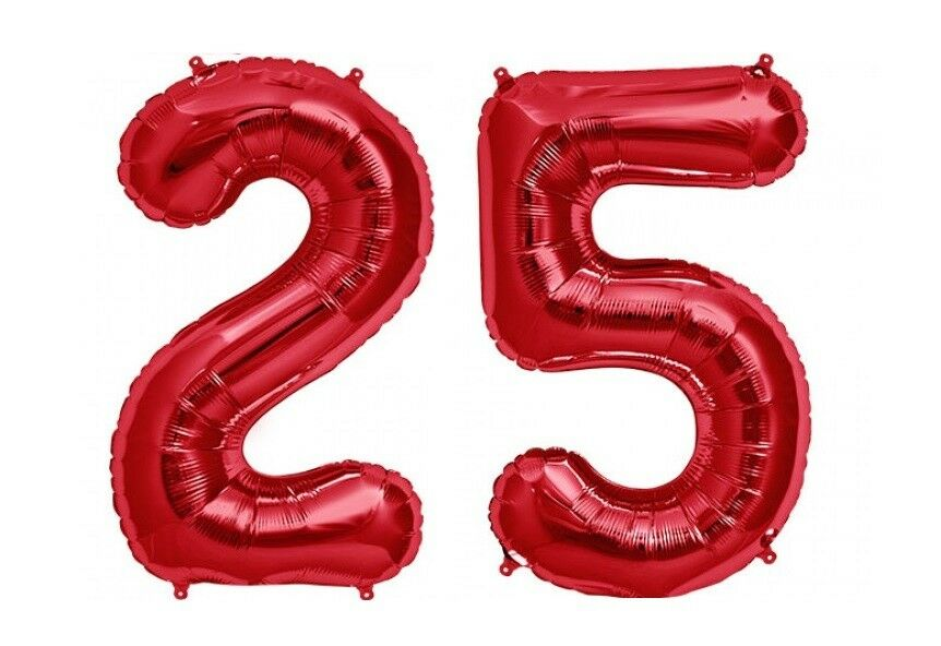 Details About Giant 40 25 Hot Red Number Balloons 25th Birthday Anniversary Foil Float Helium