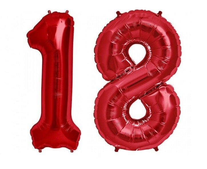 Details About Giant 40 18 Hot Red Number Balloons 18th Birthday Anniversary Foil Float Helium