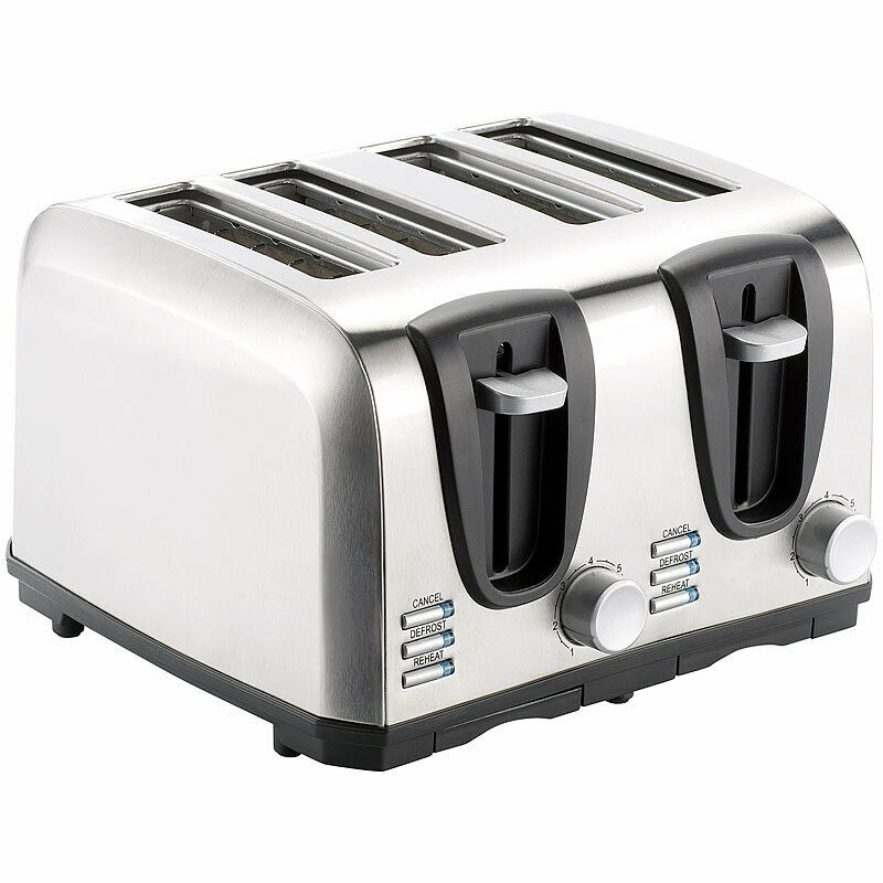 brot toaster edelstahl toaster f r 4 scheiben 1300 w design toaster ebay. Black Bedroom Furniture Sets. Home Design Ideas