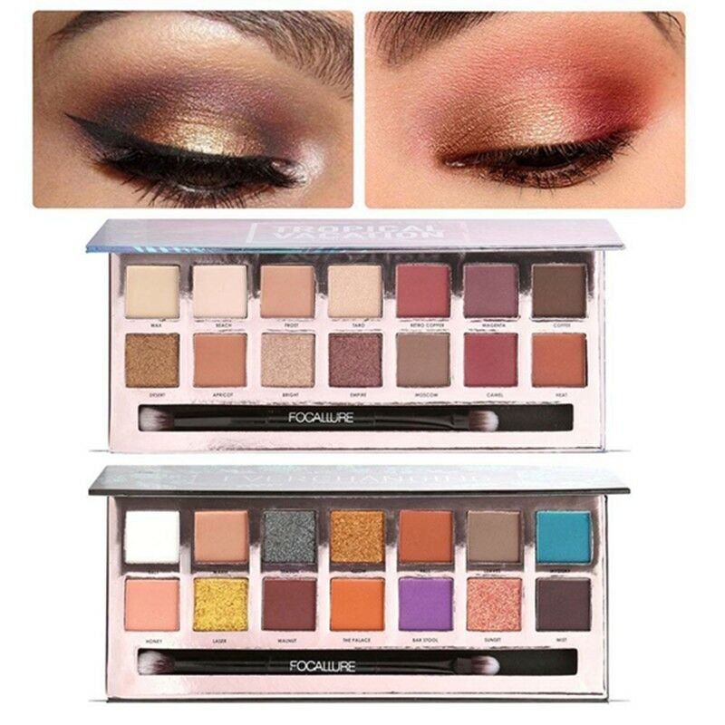 Eyeshadow Pallete Focallure Eyes Shadow Color Palette Shimmer And Matte 14 Colors Palette Eyeshadows Earth Colors Makeup Beauty & Health Beauty Essentials