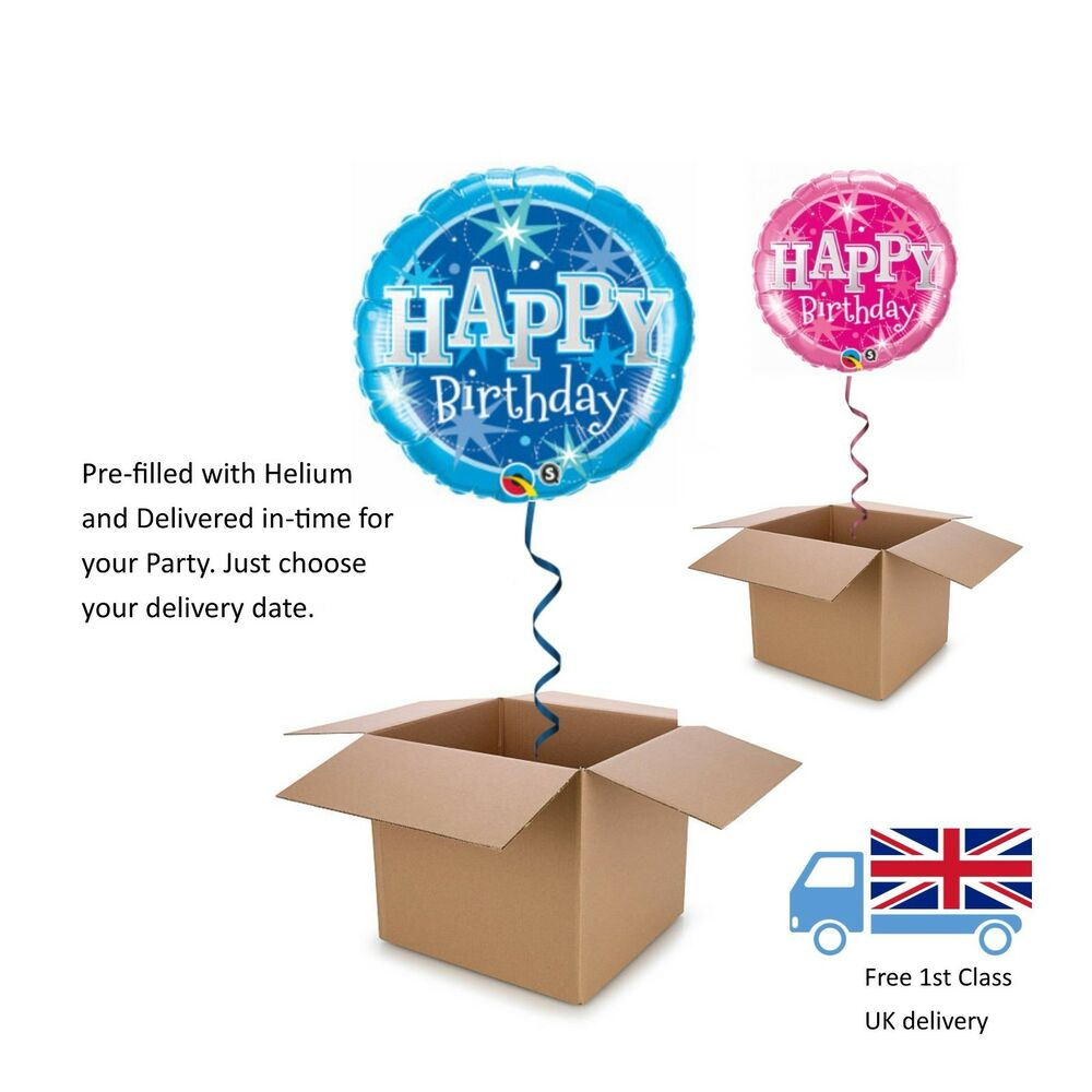 Details About 18 Qualatex Pink Or Blue Happy Birthday Balloon In A Box With Helium