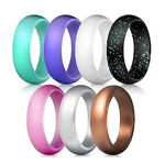 7pcs Women Glitter Silicone Rubber Ring Band Wedding Gym Crossfit Lover Gift