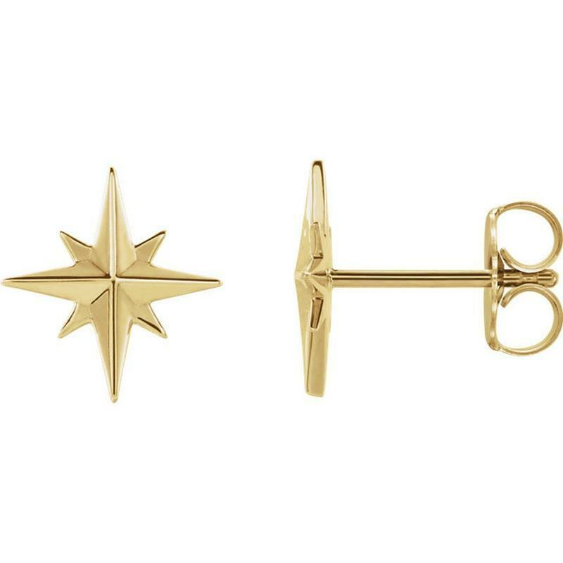 f64ee55fd Details about 14K Yellow Gold Star Stud Earrings
