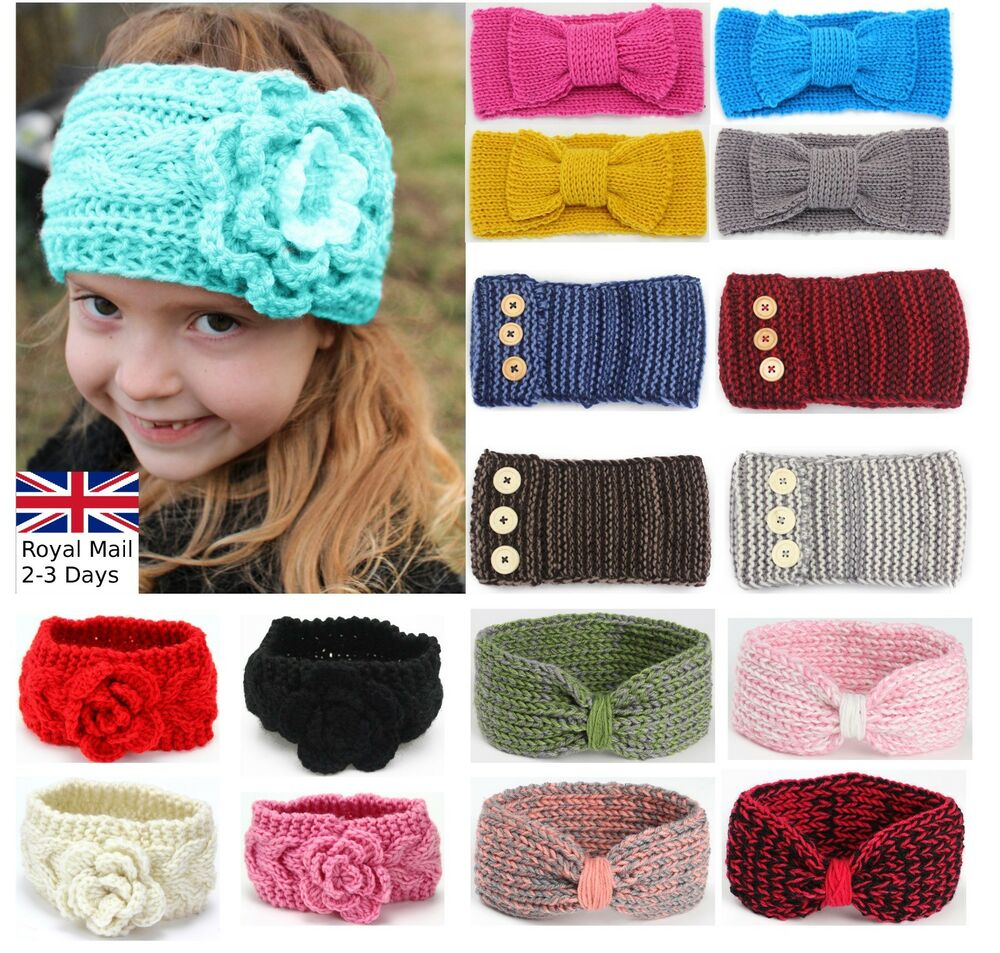 Baby Girls Winter Turban Crochet Bow Knitted Wool Headband