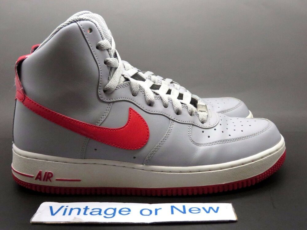 Nike Air Force 1 High '07 Wolf Grey Hyper Red 2013 sz 8
