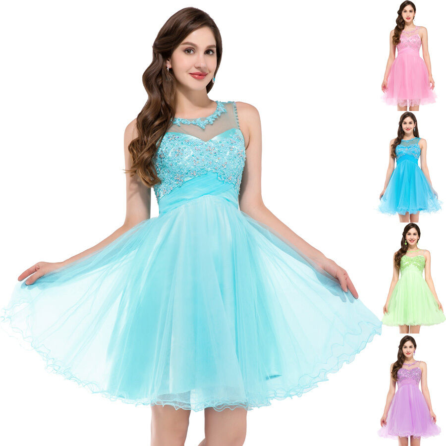 Womens&Girls Formal Short Mini Evening Ball Gown Party Prom ...