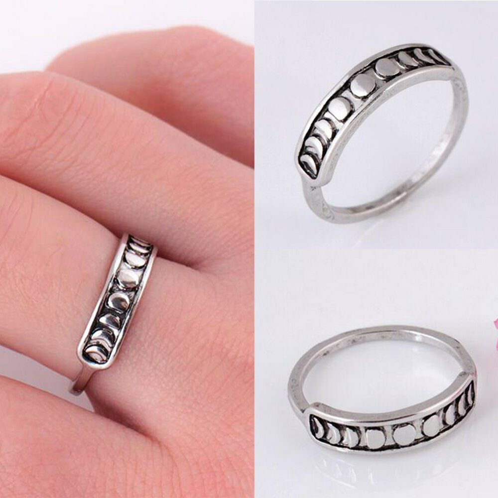Handmade Silver Moon Phase Finger Rings Bands Fashion Women Jewelry ...