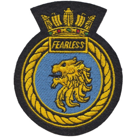 img-HMS Fearless Royal Navy RN Surface Fleet Crest MOD Embroidered Patch