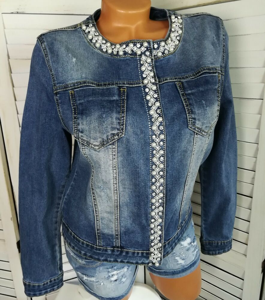 edel stretch jeans denim jeansjacke strass perlen stonewashed blau 50 eher 46 ebay. Black Bedroom Furniture Sets. Home Design Ideas