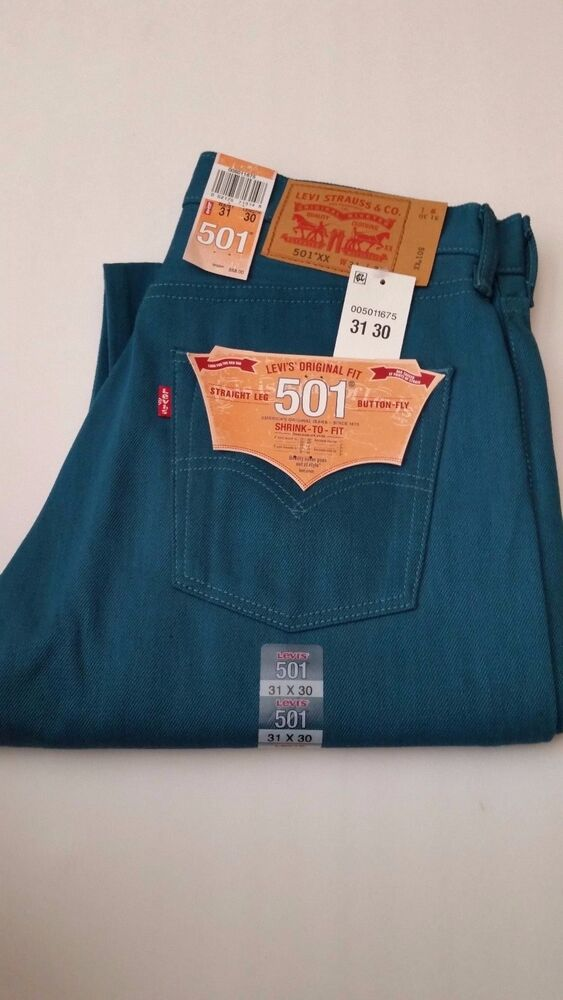 86be2512518 Details about Levi's 501 Original Jeans Straight Leg Button Fly Blue Green  Color Size 31 X 30