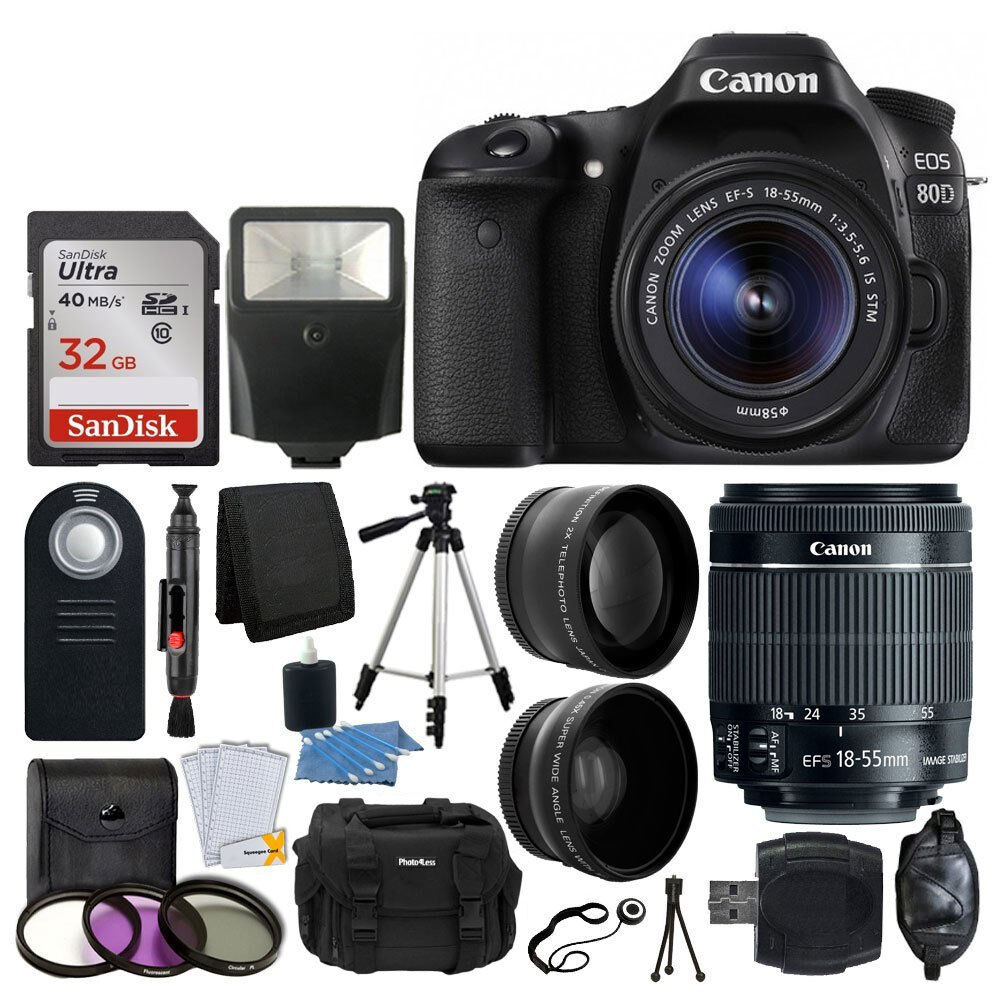 Canon Eos 80d Dslr Camera Ef S 18 55mm F 35 56 Is Stm Lens Wi Fi With 200mm Tripod More 793588536909 Ebay