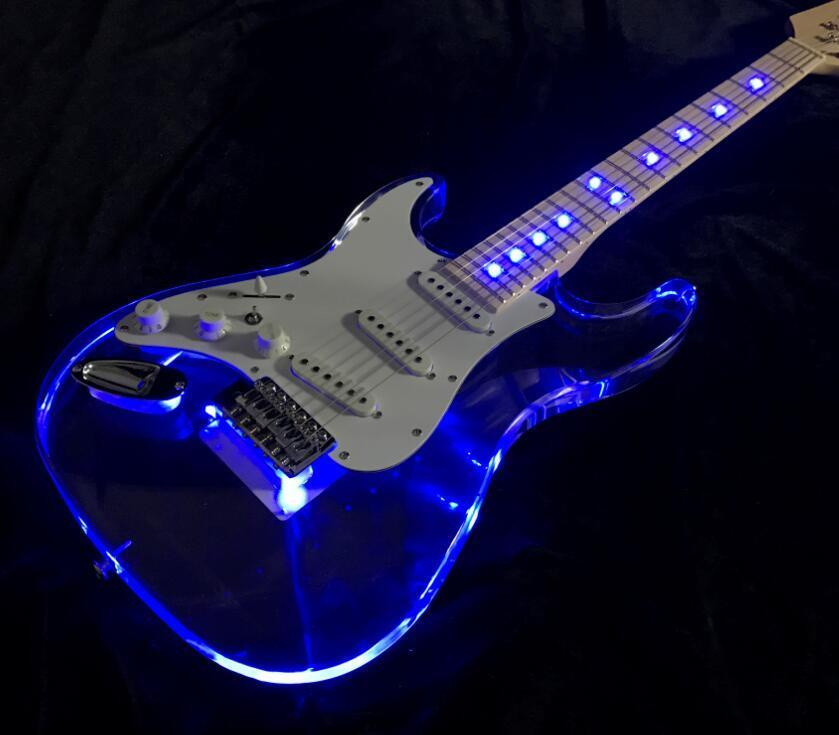left hand strat led light electric guitar acrylic body crystal guitar blue color ebay. Black Bedroom Furniture Sets. Home Design Ideas