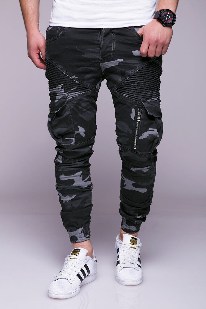 m nner biker jeans camouflage men cargo hose mit taschen jogg denim pants ebay. Black Bedroom Furniture Sets. Home Design Ideas
