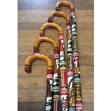 (1) Colorful Hand Painted Mexican Carved Wooden Cane Walking Stick Aztec 36