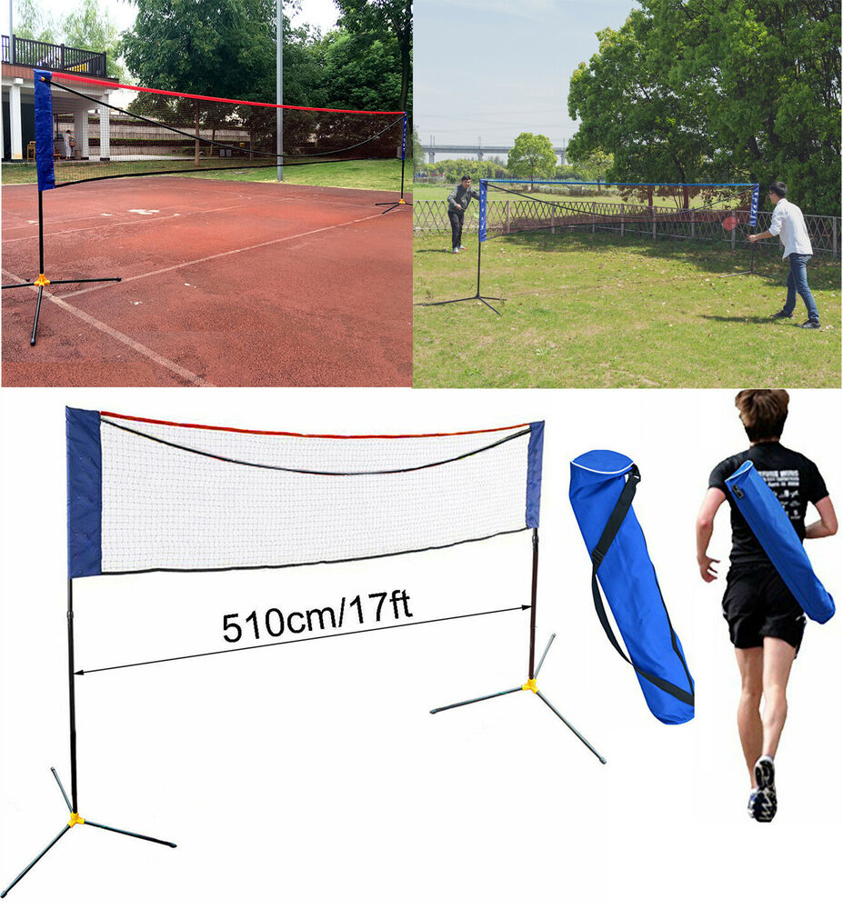 Portable 17 Ft X 5 Ft Adjustable Height Badminton