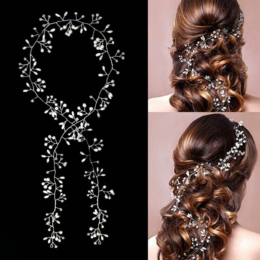 1m haarkette hochzeit perlen haarschmuck kette haarband braut diadem haargesteck ebay. Black Bedroom Furniture Sets. Home Design Ideas